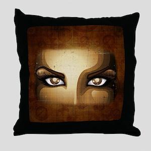 Steampunk Girl Eyes Throw Pillow