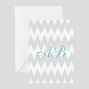Gray Chevron Teal Monogram Greeting Cards