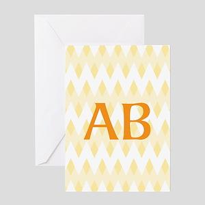 Yellow Chevron Orange Monogram Greeting Cards