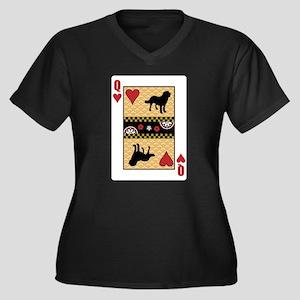 Queen Chinook Women's Plus Size V-Neck Dark T-Shir