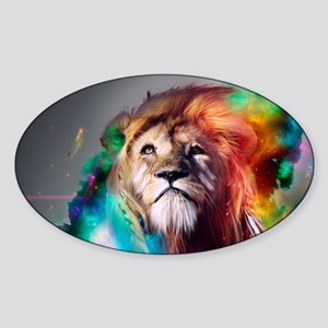 flaming lion Sticker (Oval)