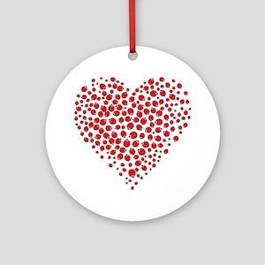 Heart of Ladybugs Ornament (Round)