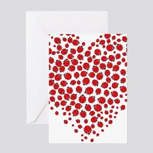 Heart of Ladybugs Greeting Cards
