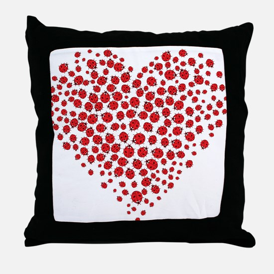 Heart of Ladybugs Throw Pillow