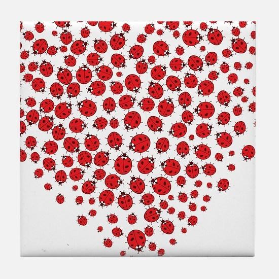 Heart of Ladybugs Tile Coaster