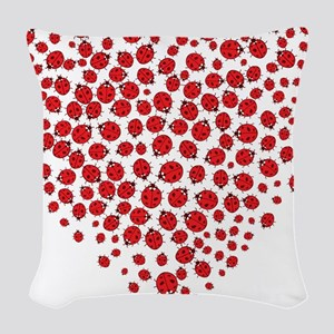 Heart of Ladybugs Woven Throw Pillow