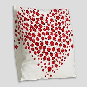 Heart of Ladybugs Burlap Throw Pillow