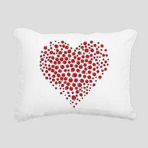 Heart of Ladybugs Rectangular Canvas Pillow