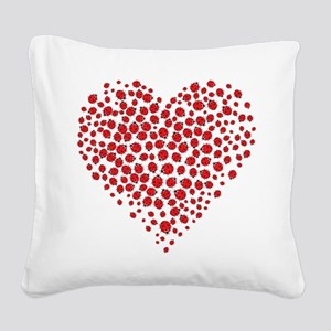 Heart of Ladybugs Square Canvas Pillow