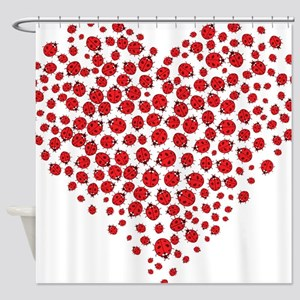 Heart of Ladybugs Shower Curtain