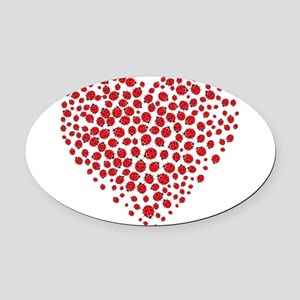 Heart of Ladybugs Oval Car Magnet