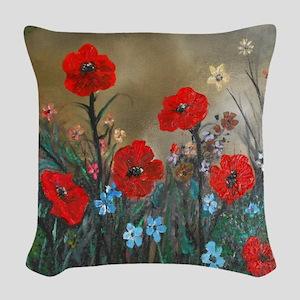 Poppy Garden Love Woven Throw Pillow