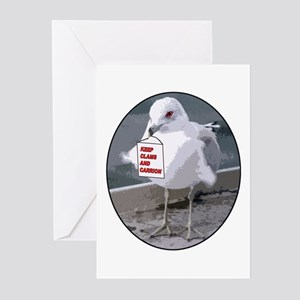 Gull Keeps Clams Greeting Cards