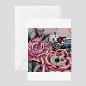 SUGAR SKULL ROSES Greeting Cards