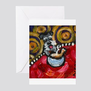 Schnauzer loves chicken soup Greeting Cards (Packa
