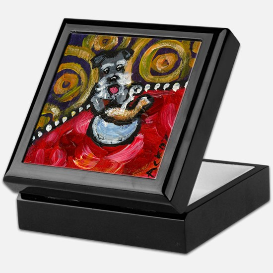 Schnauzer loves chicken soup Keepsake Box