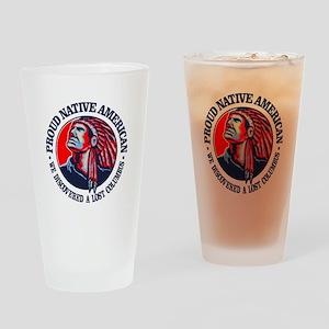 Proud Native American (Columbus) Drinking Glass