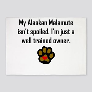 Well Trained Alaskan Malamute Owner 5'x7'Area Rug