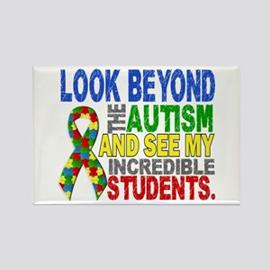 Look Beyond 2 Autism Students Rectangle Magnet