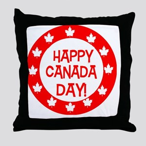 Happy Canada Day  (Red Ring) Throw Pillow