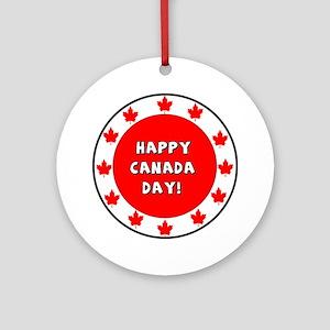 Happy Canada Day Round Ornament