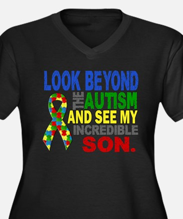 Look Beyond Women's Plus Size V-Neck Dark T-Shirt