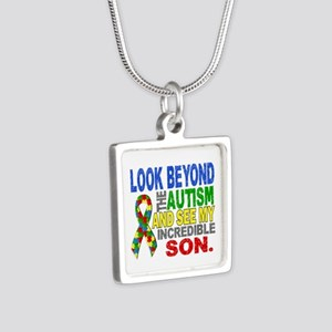Look Beyond 2 Autism Son Silver Square Necklace