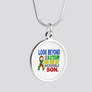 Look Beyond 2 Autism Son Silver Round Necklace