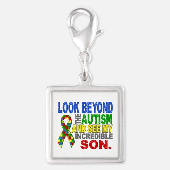 Look Beyond 2 Autism Son Silver Square Charm