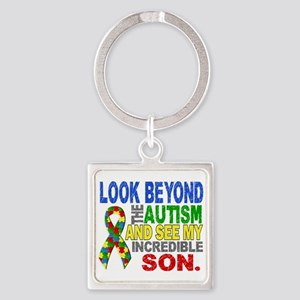 Look Beyond 2 Autism Son Square Keychain