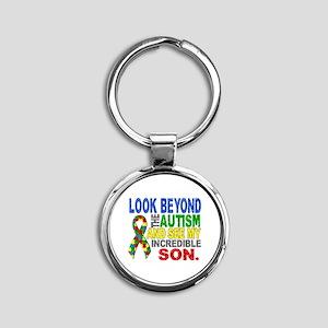 Look Beyond 2 Autism Son Round Keychain