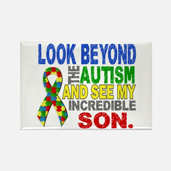 Look Beyond 2 Autism Son Rectangle Magnet