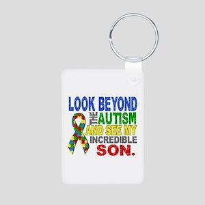 Look Beyond 2 Autism Son Aluminum Photo Keychain