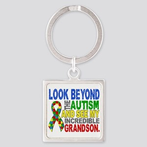 Look Beyond 2 Autism Grandson Square Keychain