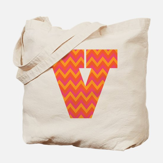 V Monogram Chevron Tote Bag