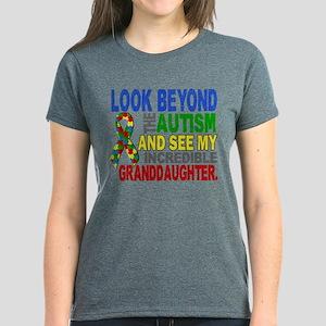 Look Beyond Autism 2 Granddau Women's Dark T-Shirt