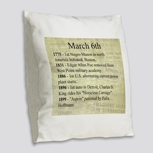 March 6th Burlap Throw Pillow
