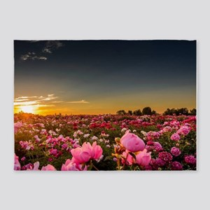 FLOWER FIELD at SUNSET 5'x7'Area Rug