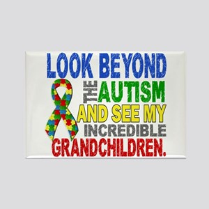 Look Beyond 2 Autism Grandchildre Rectangle Magnet