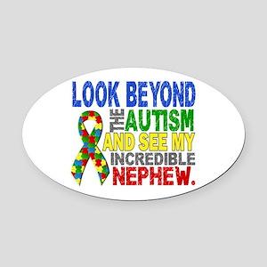 Look Beyond 2 Autism Nephew Oval Car Magnet