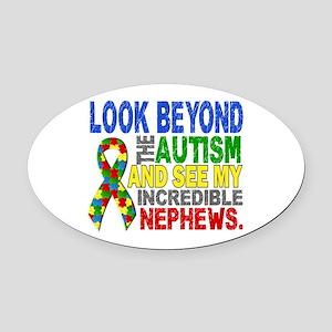 Look Beyond 2 Autism Nephews Oval Car Magnet