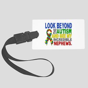 Look Beyond 2 Autism Nephews Large Luggage Tag