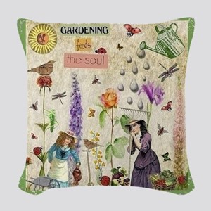 Gardening Woven Throw Pillow