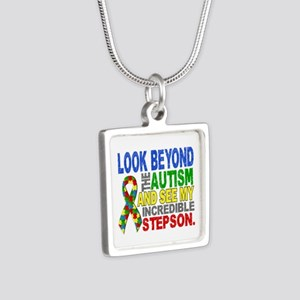 Look Beyond 2 Autism Steps Silver Square Necklace