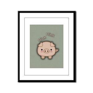 Cute Pink Pig Oink Framed Panel Print