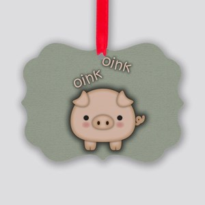 Cute Pink Pig Oink Ornament