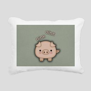 Cute Pink Pig Oink Rectangular Canvas Pillow