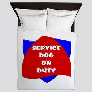SERVICE DOG ON DUTY Queen Duvet
