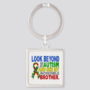 Look Beyond 2 Autism Brother Square Keychain