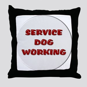 SERVICE DOG WORKING WHITE Throw Pillow